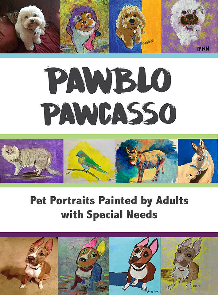 Pawblo Pawcasso book cover showing various animal paintings.
