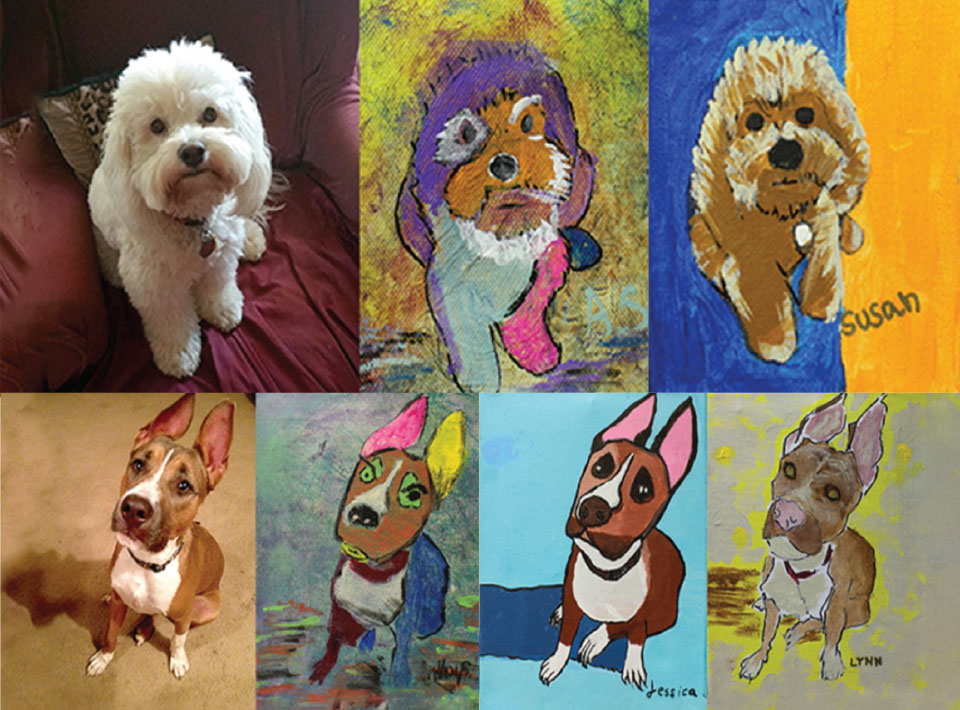 A compilation of images: two photographs of dogs and their artistic renderings in paint