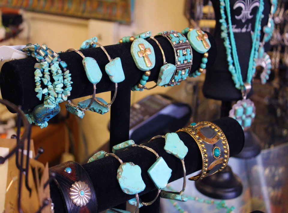 A display of turquoise jewelry for sale