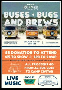 marketing poster for Buses Bugs and Brews fundraising event